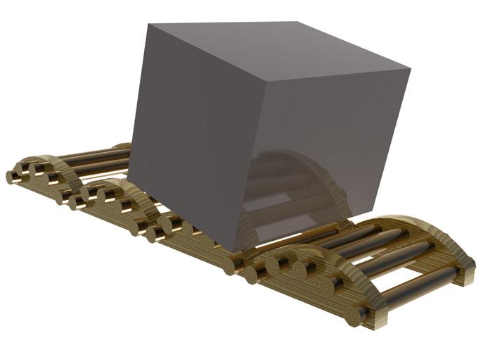 Disegno 3D di come si sarebbero potute spostare le grandi pietre che compongono le piramidi… un'ipotesi.